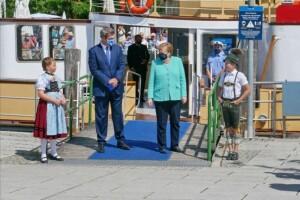 Luzia Huber, Markus Söder, Angela Merkel und Lukas Huber (Atzing) 14.07.2020