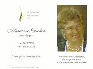 Sterbebild Marianne Fischer 1